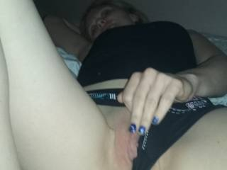 Charla pulling her panties over for a peek at juicy pussy lips