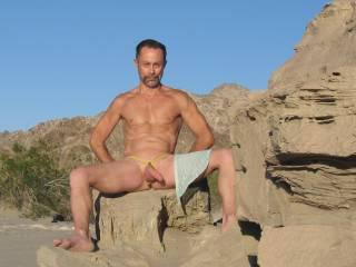 Nudist hiking around a sound wash area