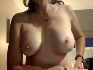 Hmmm, is it the AC or because hubby is taking my pic? Do you like my hard nipples?