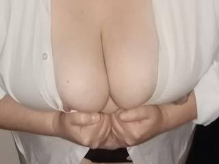 Sexy wife showing off her big tits in my shirt mmmmmm