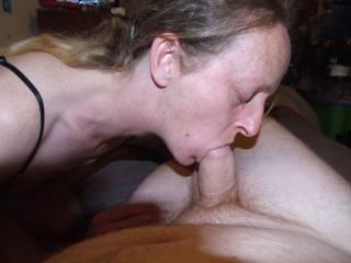 Joanne giving me a nice blowjob