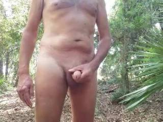 I love being naked outdoors in the Florida forest. What would you do if you came along and saw me playing with my cock?