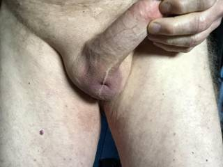 Swollen penis and tight ball sack.