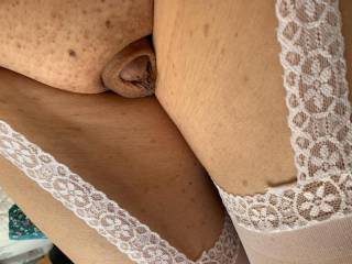 Wearing crotchless panty hose makes me feel so sexy