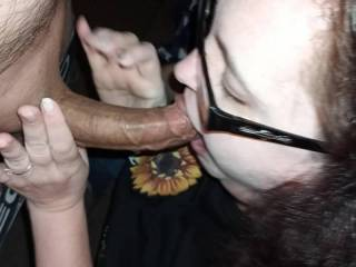 I love it when she takes my long hard cock deep down her throat