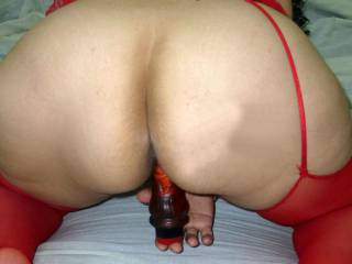 Sextoy and lingerie in red
