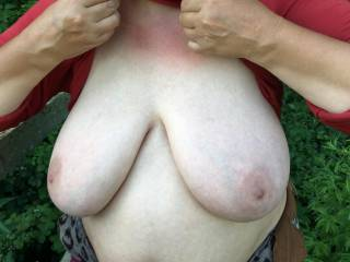 A nice touch of red suntan higher up - but not lower down, on her BIG TITS ! Thank you :)