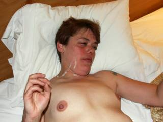 nice hot hard nipples, and looking good with a cum covered face