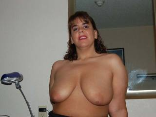 I Love your Full Breast and Large Aerola's... I would Love to Kiss, Lick and Suck on them. And I not being the SHY type; would Gladly Kneel between your Open Thighs and give you Oral SEX and have you CLIMAX in my Mouth until you are totally Exhausted...  Love and Kisses, Maryann