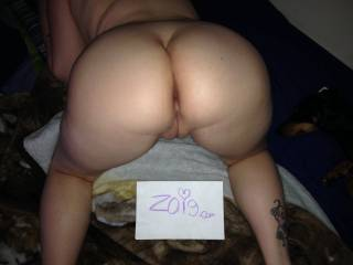 """That beautiful ass AND her pussy seen from the rear...my favorite position! Take this as a vote of """"like"""" for ALL of your photos here on Zoig!"""