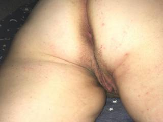 Pic of our girlfriend's ass & pussy right before I give her a good fucking.