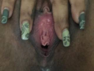 Spreading her sexy pussy lips for ya