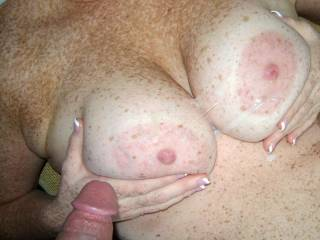 Nothing makes me wetter then seeing my or any girls titties covered in hot cum! YUM! :) He fucked me and pulled out and shot all over mine here!