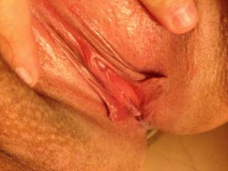 Sweetie, your pussy is beautiful and looks delectable! Baby, I dont think I could just nibble. A thorough tongue lashing is in order!!!