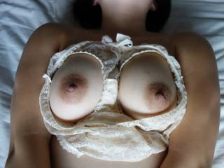I love breasts presented up for partners pleasure it seems - in open cup bra or framed with clothing like yours.  Focuses the viewer on how much sexual pleasure can be derived from breasts offered up for play & cumshots like this.  My fantasy follow on to this would be that you let your guy jerk all over your tits, cleaned the cum up with your panties then wore them to go out in for the next few hrs, making your pussy wet & creamy too from the thoughts of dooing something so naughty!   You inspire my naughty mind - & I love you for that!