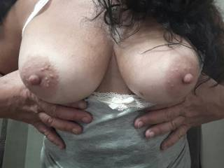 I can never ever get tired of seeing your tits... You know that. And you also know how much I'd want to feel my hard shaft squeezed between them and to have the tip of my cock in your mouth... ;)