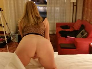 Wow !!! An awesome view !!!! How about I just get behind you, grab those hips, slide my hard cock deep in your wet pussy and give it a good hard fuckin' !!!!!