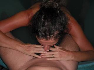Sucking my Hubby\'s lovely smooth thick cock in the spa at home.