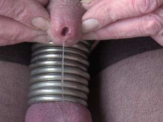 Balls all ringed up and my cock oozing pre-cum !