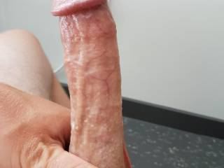 Admiring my 7 inch cut cock.. daydreaming of a mouth slowly teasing me ;)
