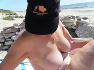 Guys kept ogling my wife\'s boobs - one guy sat really close to us and happily displayed his stiff cock to her.