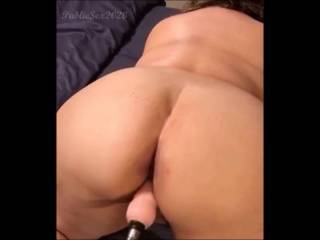 Watch my ass jiggle the first time using the sex machine.  Anyone want  to replace the machine with their tongue, cock, or strap on?