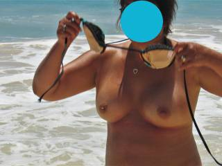 The guys bet that I wouldn\'t bare my boobs at the beach.  They were sooo wrong