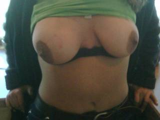 """SHIIIIITTTT!! Love the huge areola.  Need to see pics of the hanging.  Wish I was """"at the guys house""""!!"""