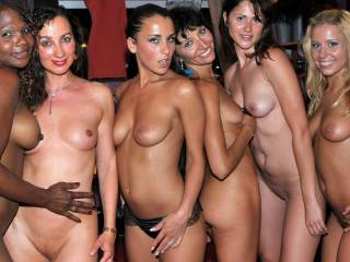 This pic does have a story. It was at a club in Cap d'Adge in France. Just after joining the girls for some sexy pole dancing we went backstage and we took a group pic xxx
