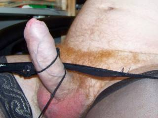 Tight hard cock. Going to wank off in her stockings and thong