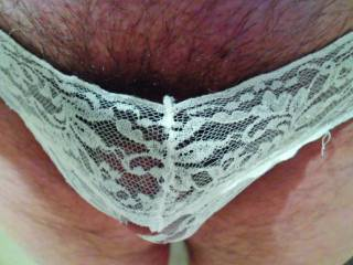 Found these cute lacy ones. It's a bit small for my cock, but love the lace.