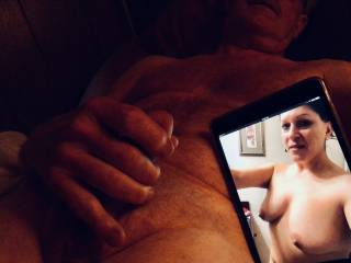 I'm stroking my cock about to cum with the photo that slytxguy sent me of his wife.