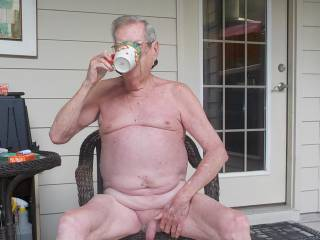 Enjoying a morning cup of coffee on the porch in the early morning sun