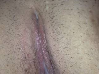 My pussy leaking cum after a friend dumped his load inside me ;)