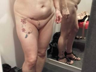 Totally naked in the changing room.... I think this is the best thing she did in there!  lol