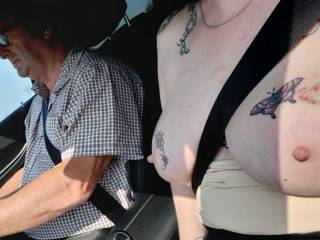 Never enough of Sally beside me in the car with her tits fully exposed. Seeing them move as the car bounces....AMAZING!