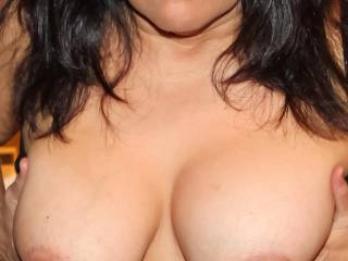 Playing with my 36DD titties!