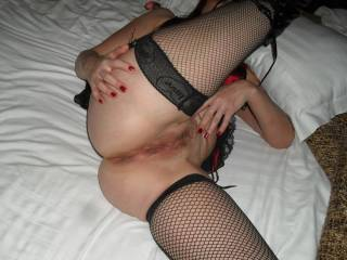 My wife showing her wet pussy after being taken by the other guy
