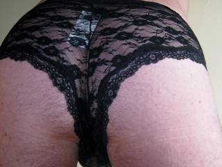 Bought these black lace panties today.  Feels so good next to my cock, balls and ass.  I hope you like them too!!!