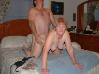 imagine if I eat his balls, and your pussy from the back. and my husband standing next to you suck his dick