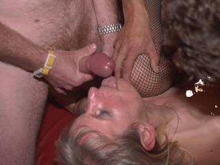 Me creaming Spermanneke in The Showboat, Holland. This big nippled slut is very horny and got her first black gangbang
