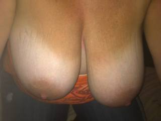 Pic that hubby's buddy took of my tits just before I started to suck his fat cock as we waited for hubby to get off work and join us.