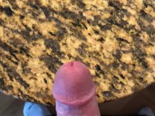 Shooting my warm cum all over my counter