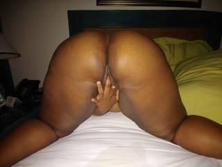 ebony bbw finger fucks her pussy in anticipation of my hard cock