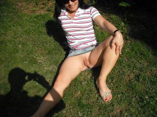 I dont like wearing panties outside. You can see Terry's shadow as I pose for him lol! xxx