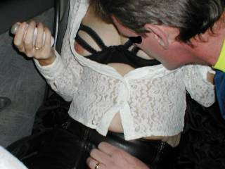 wife getting her tits sucked while out dogging