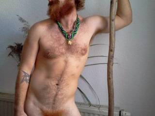 nice full body pic, love your hairy chest and ginger beard and pubes. your uncut cock is georgeous