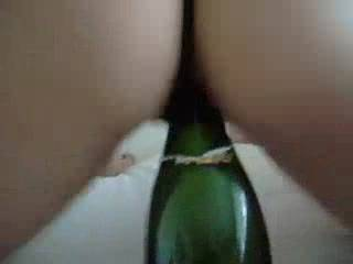 Valentines evening should be a special time, and what better way to celebrate then a bottle of Champagne for Hussy to ride while sucking cock.