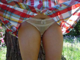 Teasing me with a flash of her sheer sexy panties while out on a walk in the pask