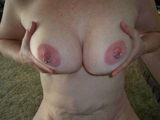 Spectacular tits and nipples, those aureoles are out of this world, could suck on them for hours!!!